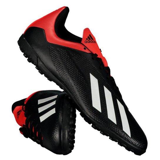 93d52671ad Chuteira Society Adidas X 18 4 TF - Preto e Vermelho
