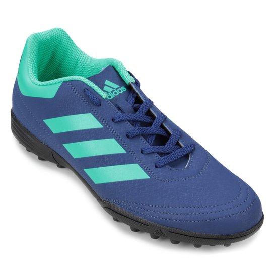Chuteira Society Adidas Goletto 6 TF - Azul e Verde Água - Compre ... c71007040413c