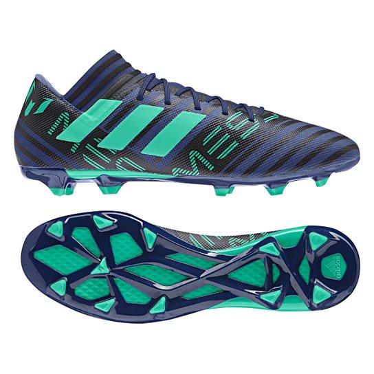 5b42725214 Chuteira Campo Adidas Nemeziz Messi 17.3 FXG - Preto e verde ...