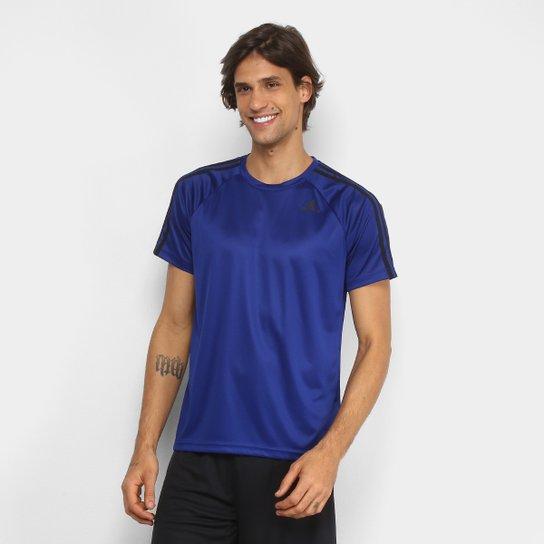 2f149f4d2a0 Camiseta Adidas D2M 3Stripes Masculina - Azul - Compre Agora