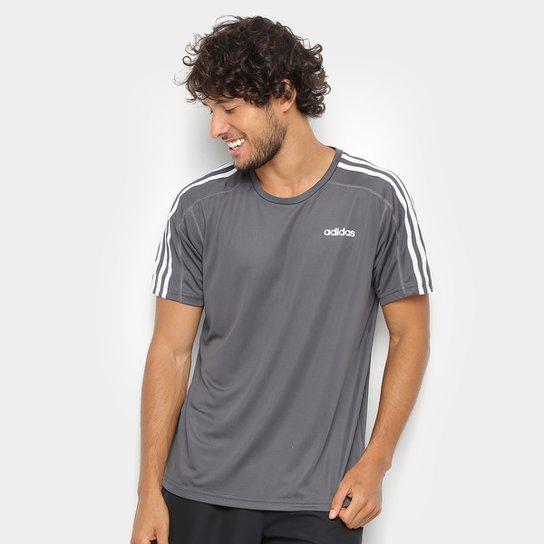 2ec8c1895 Camiseta Adidas Mc D2M 3Stripes Masculina - Cinza | São Paulo Mania