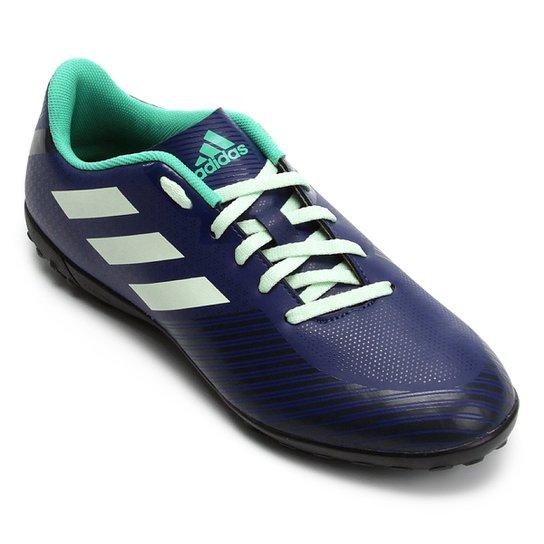 Chuteira Society Adidas Artilheira 18 TF - Azul e Verde - Compre ... d3f91f8574c9d