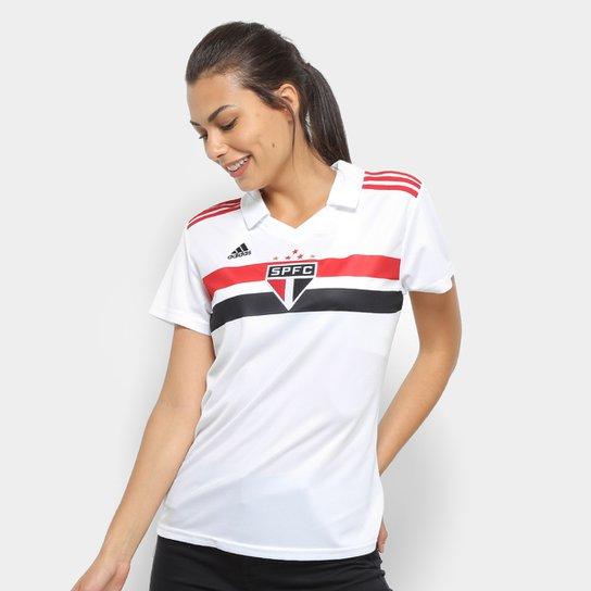 c2d516cd47 Camisa São Paulo I 2018 s/n° Torcedor Adidas Feminina - Branco+Vermelho
