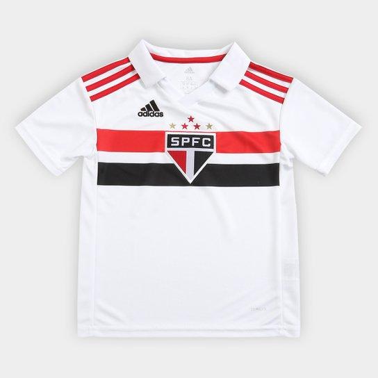 Camisa São Paulo Infantil I 2018 s n° Torcedor Adidas - Branco+Vermelho 498557d7125b3