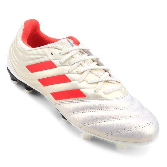 Chuteira Campo Adidas Copa 19 3 FG - Branco e Vermelho - Compre ... f9504e80d2213