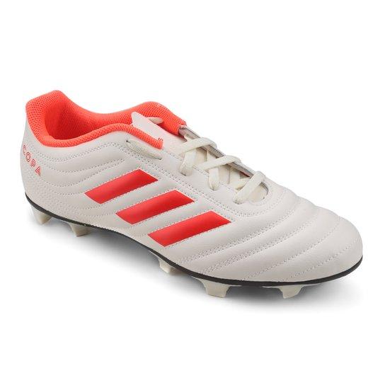Chuteira Campo Adidas Copa 19 4 FG - Branco e Vermelho - Compre ... 86603bda5800c