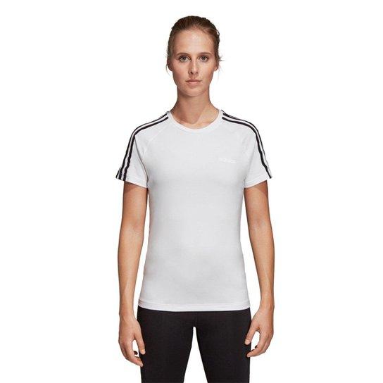 9fb0e339f Camiseta Adidas Design 2 Move 3 Stripes Feminina - Branco e Preto ...