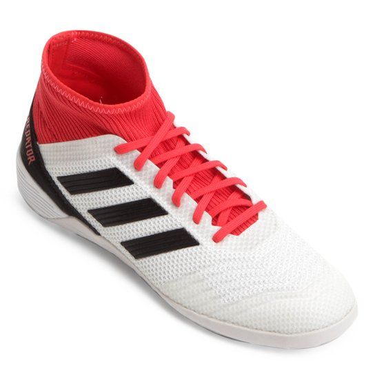 Chuteira Futsal Adidas Predator 18 3 IN - Branco+Vermelho b3bb48811805f