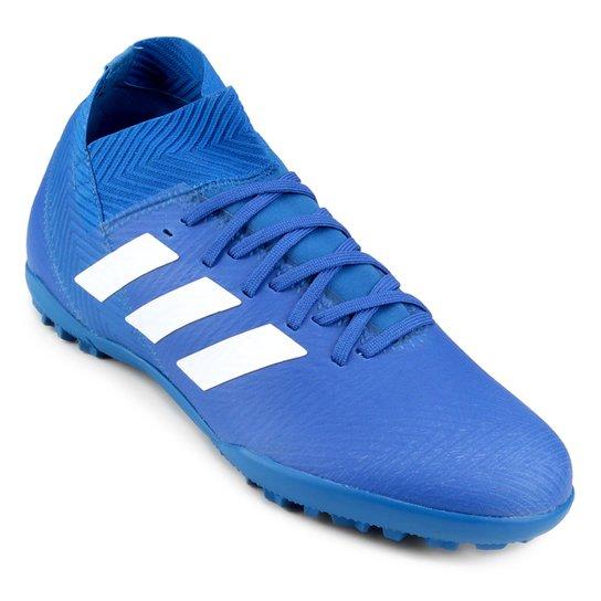 e9204a50200cf Chuteira Society Adidas Nemeziz Tango 18 3 TF - Azul e Branco ...