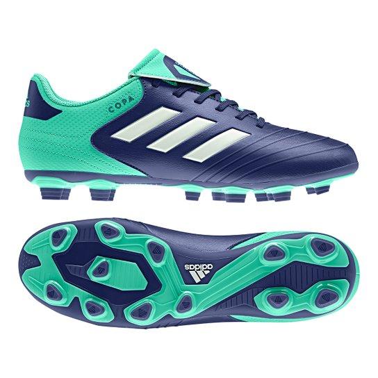 Chuteira Campo Adidas Copa 18 4 FXG - Azul e Verde - Compre Agora ... 4f8b1a1c399ef