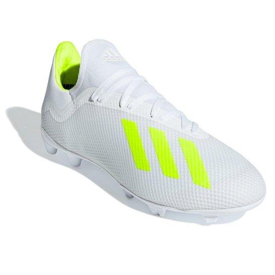 06a0279553 Chuteira Campo Adidas X 18 3 FG - Branco+Amarelo. Loading.