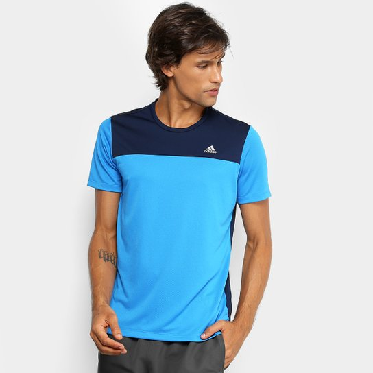 61ceff099c1e9 Camiseta Adidas New Breath Masculina - Azul e Prata - Compre Agora ...