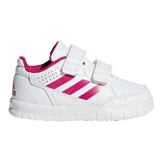 33d01c658da Tênis Infantil Adidas Altasport Cf Velcro - Branco e Rosa - Compre ...