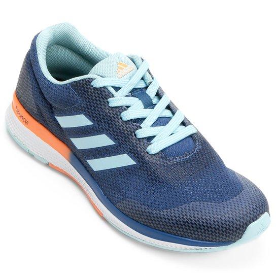 00a9afc2fa Tênis Adidas Mana Bounce 2 Feminino - Azul Claro+Laranja