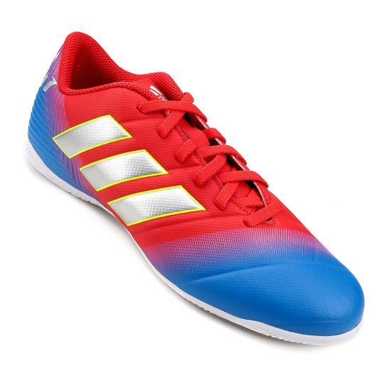 02244f2674 Chuteira Futsal Adidas Nemeziz Messi 18 4 IN - Vermelho e Azul ...