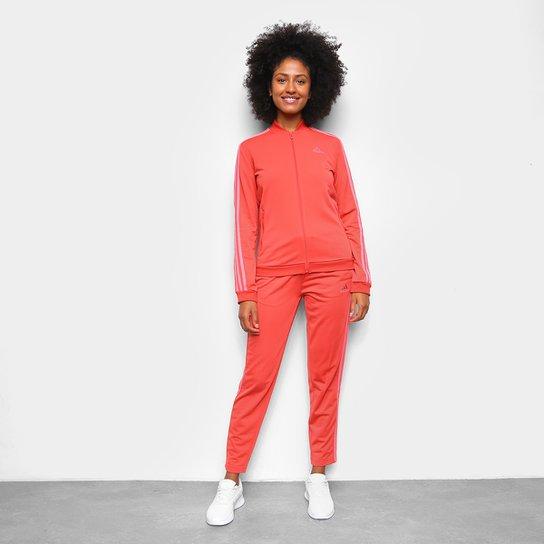 Agasalho Adidas 3 Listras Feminino - Vermelho+Rosa