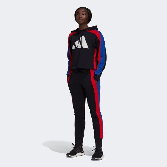Agasalho Adidas Big Logo Feminino - Preto+Vermelho