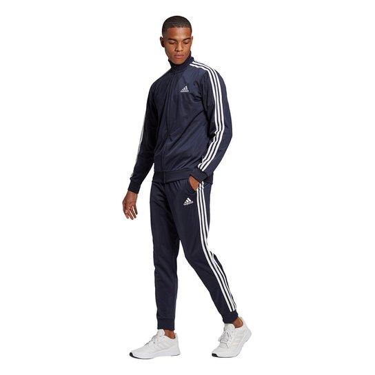 Agasalho Adidas Essentials 3 Listras Tricot Masculino - Marinho+Branco