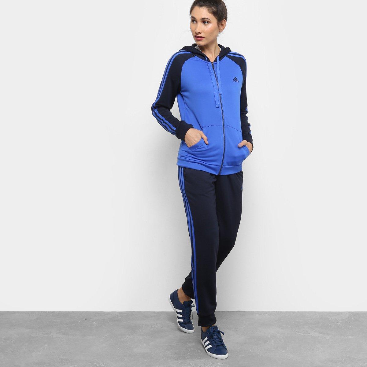 3bf57e90722 Agasalho Adidas Refocus Feminino - Azul e Marinho - Compre Agora ...
