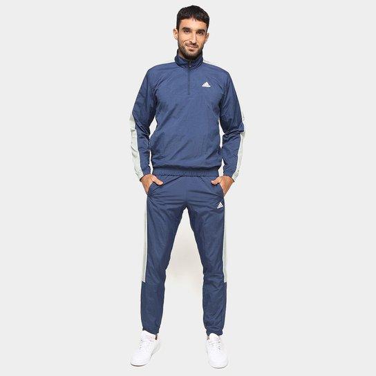Agasalho Adidas Woven 1/2 Zips Masculino - Azul