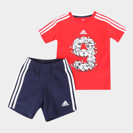 Agasalho Infantil Adidas I Lil 3S Sport Performance - Vermelho+Branco