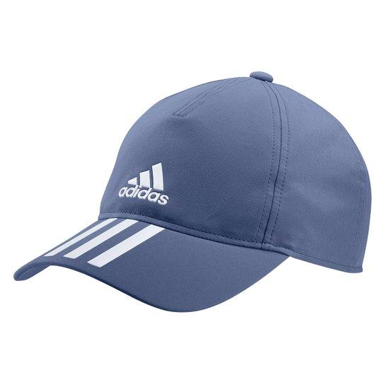 Boné Adidas Aba Curva Strapback 3 Listras - Azul+Branco