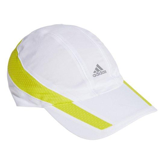 Boné Adidas Aba Curva Strapback Aeroready Retrô Tech - Branco+Amarelo