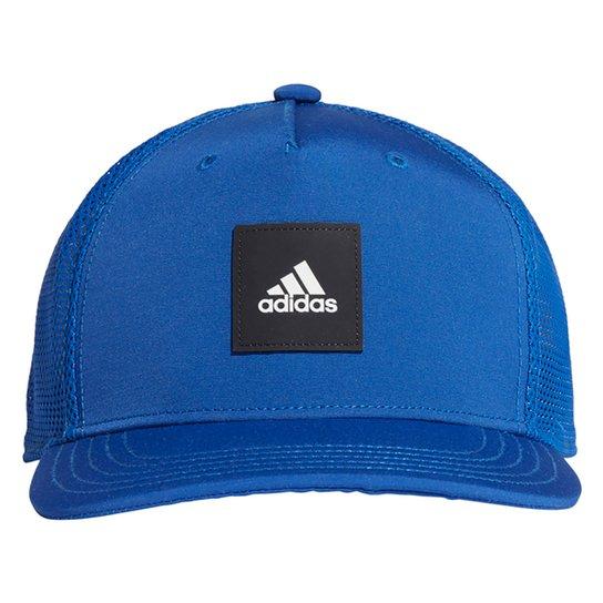 Boné Adidas Aba Reta Snapback Trucker - Azul Royal+Preto