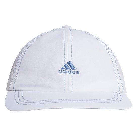 Boné Adidas Aba Reta Strapback Corrida - Branco+Azul