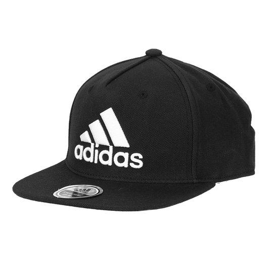 Boné Adidas Snap Back Logo Aba Reta - Preto+Branco