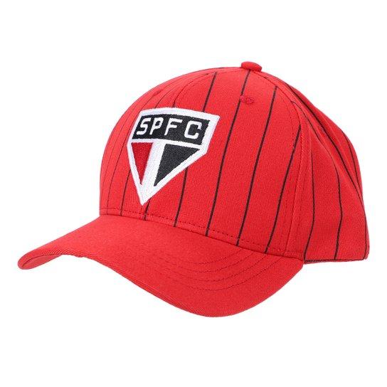 Boné São Paulo Aba Curva Snapback Stripes - Vermelho