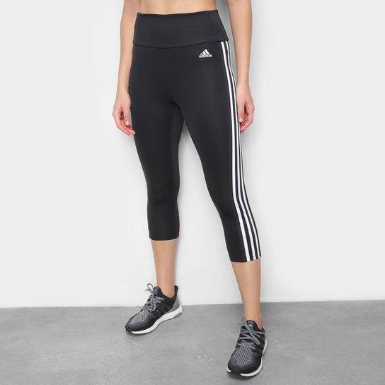 Calça Adidas 3 Listra 3/4 Feminina - Preto+Branco