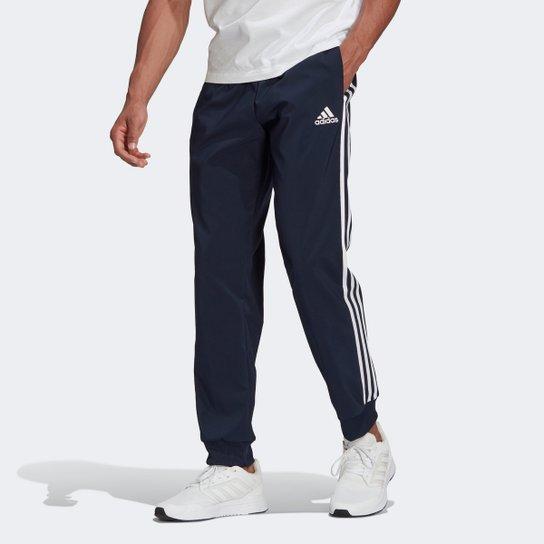 Calça Adidas Essentials 3 Listras Masculina - Marinho
