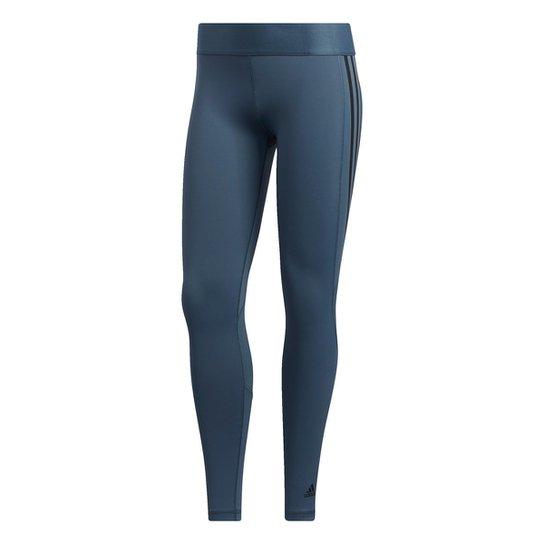 Calça Legging Adidas Alphaskin Sport 3 Stripe Feminina - Azul+Preto