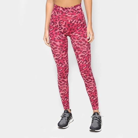 Calça Legging Adidas Believe This Leopardo Feminina - Rosa