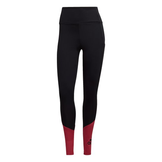 Calça Legging Adidas Cintura Alta Big Logo Feminina - Preto+Rosa