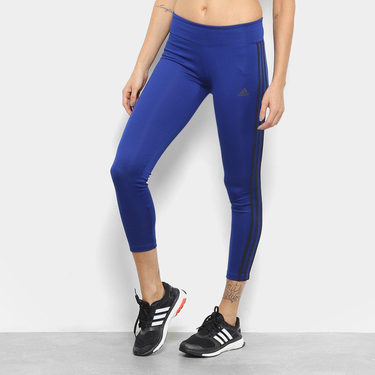 9c447faf911 Calça Legging Adidas Designed 2 Move Feminina - Azul e Preto - Compre Agora