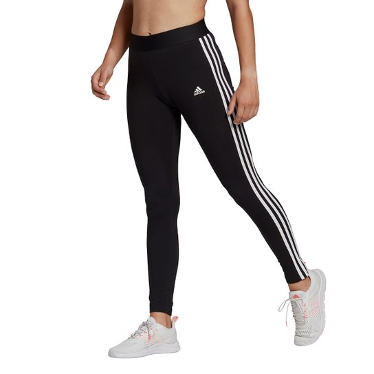 Calça Legging Adidas Essentials 3 Listras Feminina - Preto+Branco