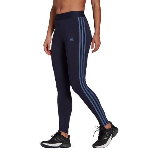 Calça Legging Adidas Essentials 3 Listras Feminina - Marinho+Branco