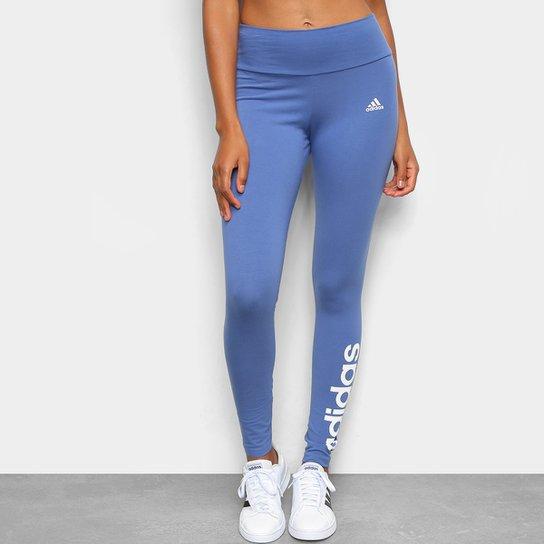 Calça Legging Adidas Essentials Linear Feminina - Azul+Branco