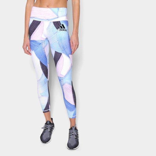 Calça Legging Adidas Nina Sum Feminina - Azul+Preto