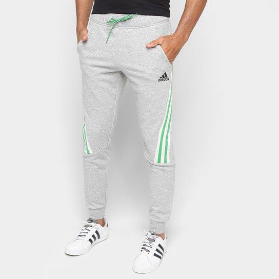 Calça Moletom Adidas 3 Listras Sportwear Masculina - Cinza+Preto