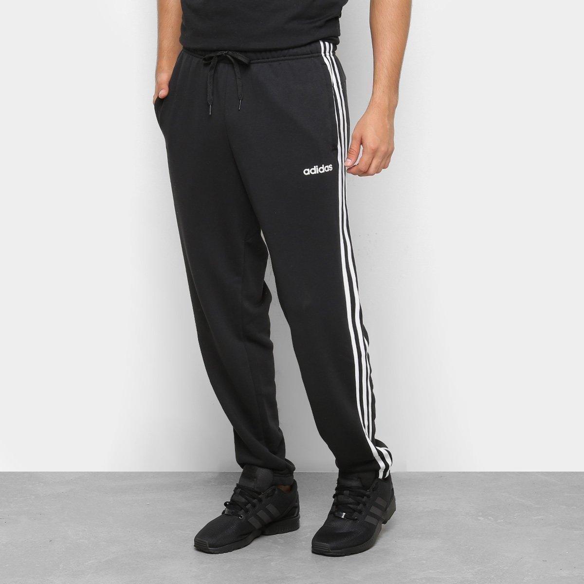 Calça Moletom Adidas E 3S T PNT FT Masculina Preto e Branco