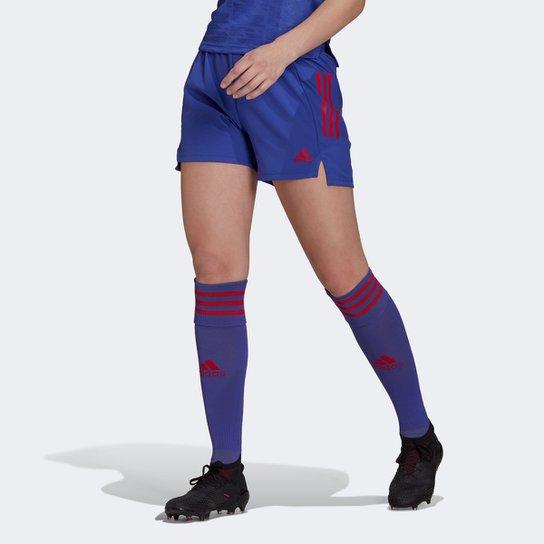 Calção Adidas Condivo 21 Primeblue Feminino - Azul+Vermelho
