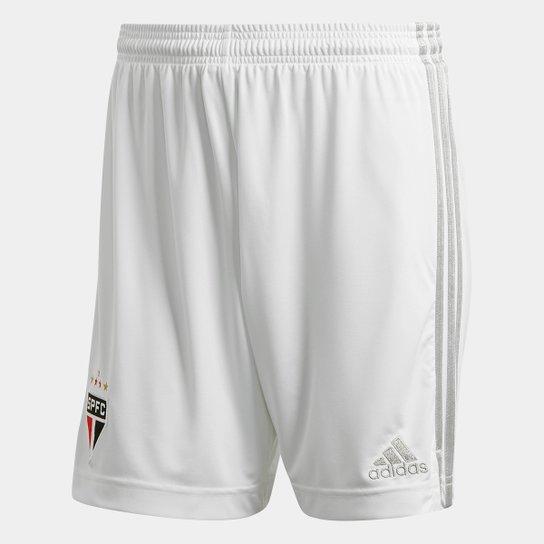 Calção São Paulo I 20/21 s/n° Torcedor Adidas Masculina - Branco+Cinza