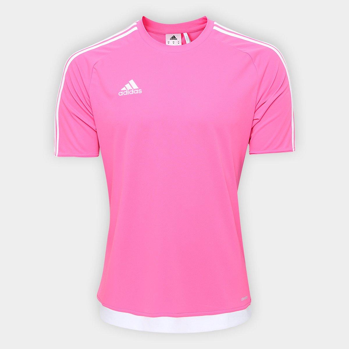 Camisa Adidas Estro 15 Masculina - Rosa e Branco - Compre Agora ... 92f3baed0aee4