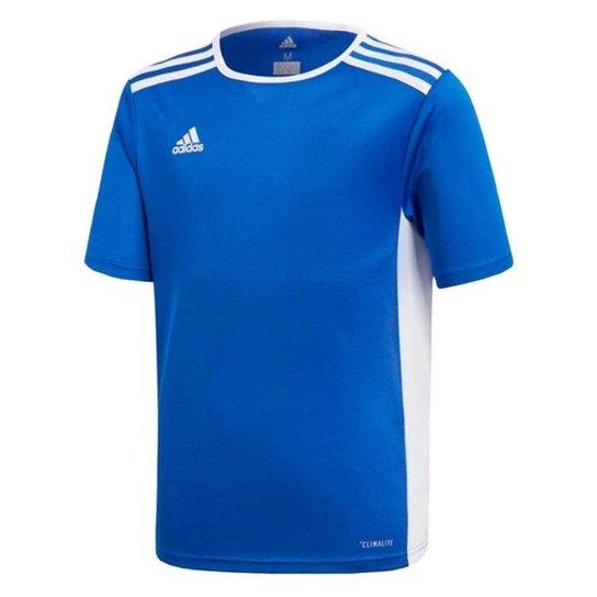 Camisa Infantil Adidas Entrada 18 - Azul+Branco