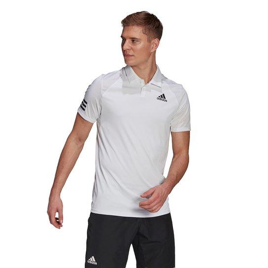 Camisa Polo Adidas Club 3 Stripes Masculina - Branco+Preto