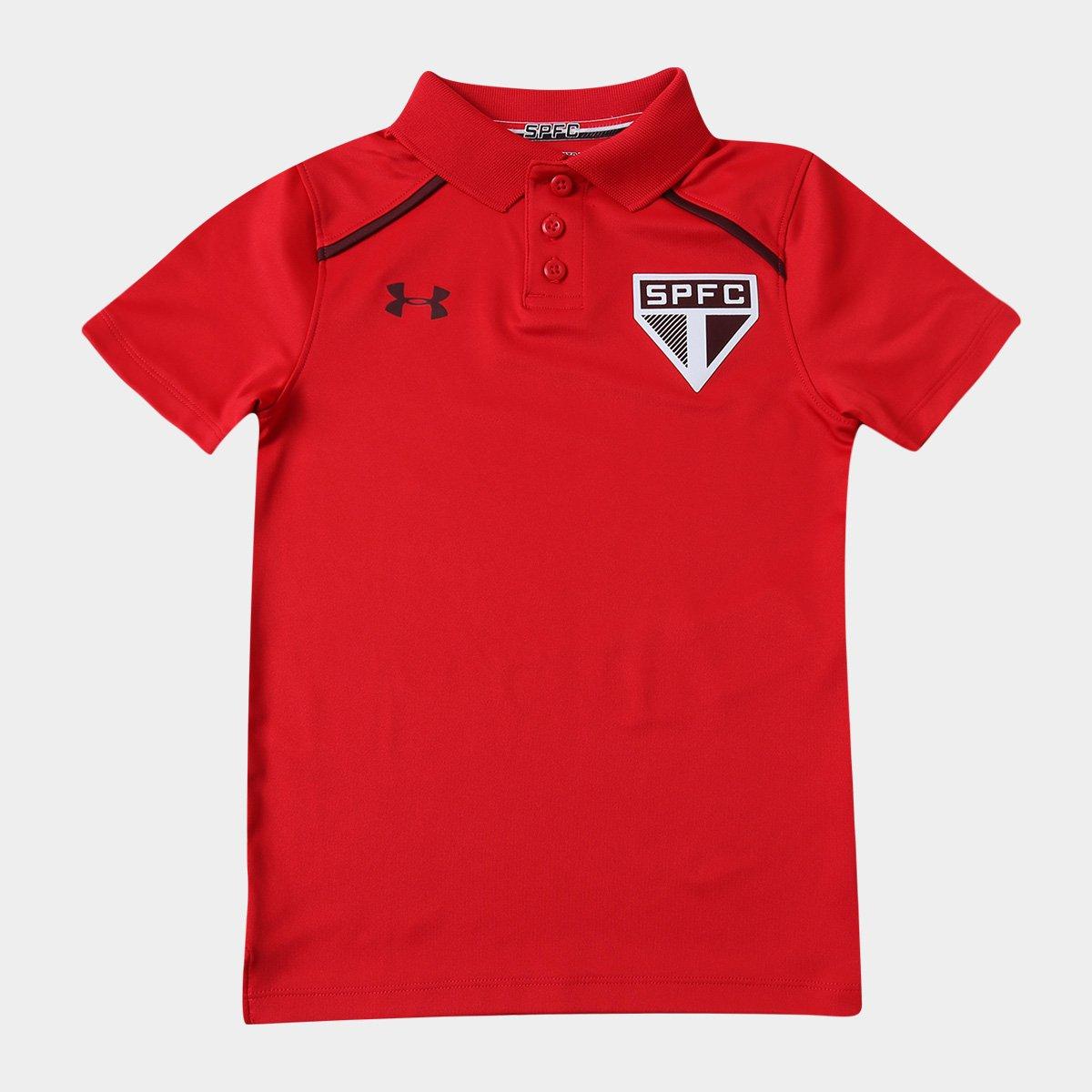 Camisa Polo Infantil São Paulo Under Armour 17 18 Core - Vermelho ... 21dd7d988843e