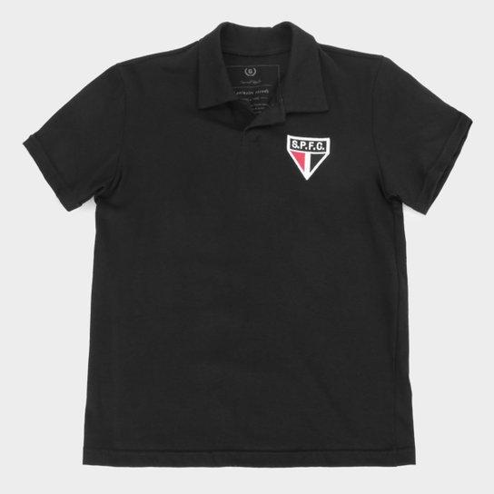 Camisa Polo Juvenil São Paulo Retrô Mania - Preto